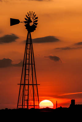 Sunset Windmill Poster