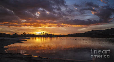 Sunset With Clouds Over Malibu Beach Lagoon Estuary Poster