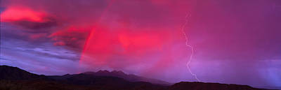 Sunset With Lightning And Rainbow Four Poster by Panoramic Images