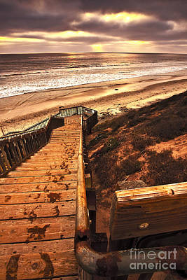 Sunset Wooden Stairway To The Beach  Poster by Jerry Cowart