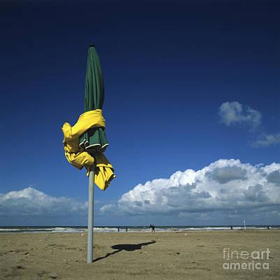 Sunshade On The Beach. Deauville Poster by Bernard Jaubert