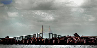 Sunshine Skyway Bridge Poster by Joseph G Holland