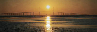 Poster featuring the photograph Sunshine Skyway Bridge Sunrise by Steven Sparks