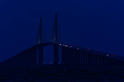 Sunshine Skyway In Blue Poster by Ed Gleichman