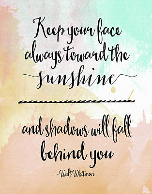 Sunshine - Walt Whitman Poster by Tara Moss