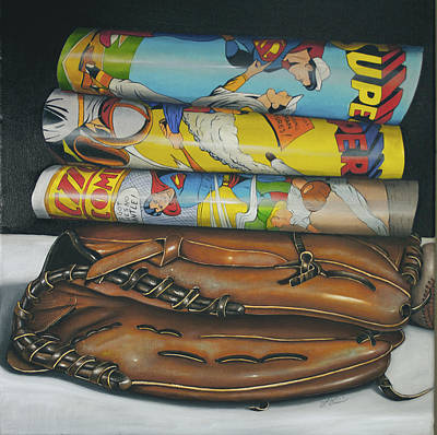 Super Baseball And Glove Poster by Vic Vicini