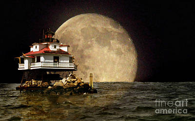 Super Moon Lighthouse Poster by Skip Willits