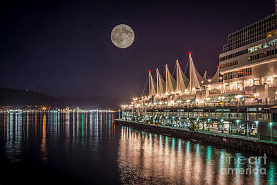 Super Moon Over Canada Place Vancouver - By Sabine Edrissi Poster
