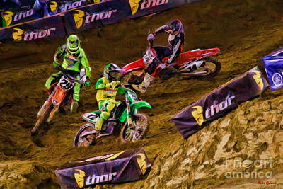 Supercross Chad Reed Leads Andrew Short Cole Seely Poster by Blake Richards