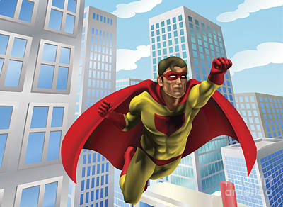 Superhero Flying Through City Poster