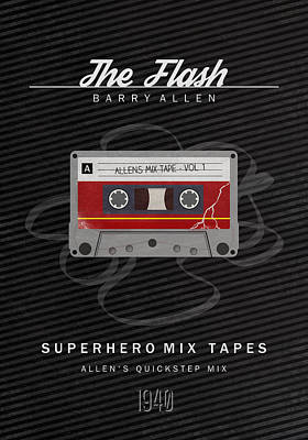 Superhero Mix Tapes - The Flash Poster by Alyn Spiller