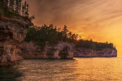 Superior Cliffs At Sunset Poster