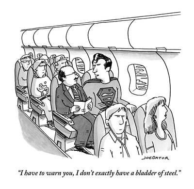 Superman Sits In A Plane Next To A Businessman Poster by Joe Dator