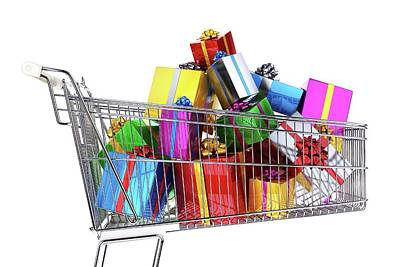 Supermarket Trolley Full Of Presents Poster by Leonello Calvetti