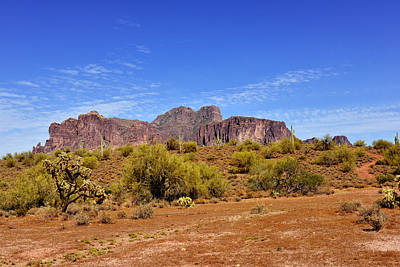 Superstition Mountains Arizona - Flat Iron Peak Poster by Christine Till