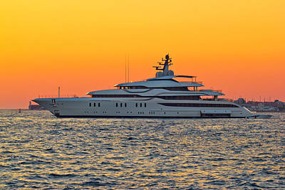 Superyacht On Yellow Sunset View Poster by Brch Photography