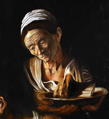 Supper In Emmaus After Caravaggio Detail Old Woman Poster by Massimo Tizzano