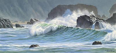 Surf And Rocks-harris Beach Poster by Paul Krapf