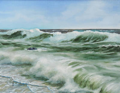 Poster featuring the painting Surf At Castlerock by Barry Williamson