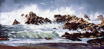 Poster featuring the painting Surf At Lincoln City by Craig T Burgwardt
