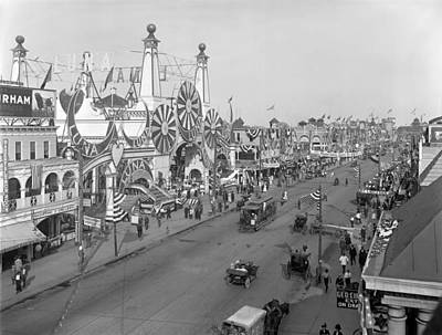 Surf Avenue And Luna Park - Coney Island 1912 Poster by Mountain Dreams