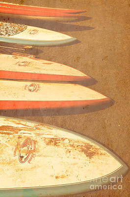 Surf Boards On Beach Poster by Birgit Tyrrell