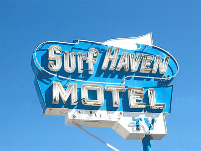 Surf Haven Motel Sign Poster by John Castell