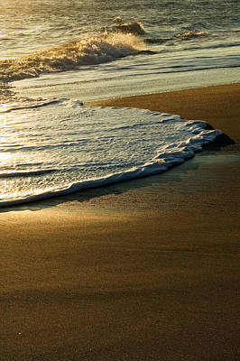 Surf On Sandy Beach, Sunrise Light Poster