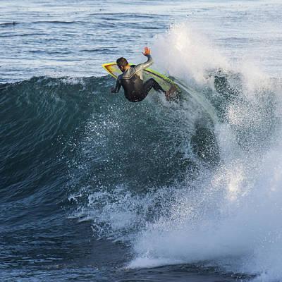 Surfer At Steamer Lane Poster by Bruce Frye