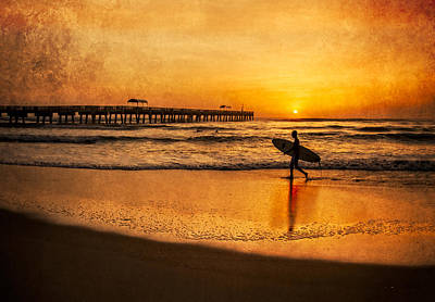Surfer At Sunrise Poster by Debra and Dave Vanderlaan