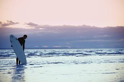 Surfer In The Shallow Water Poster