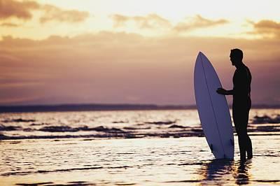 Surfer Silhouette Poster by Daniel Sicolo