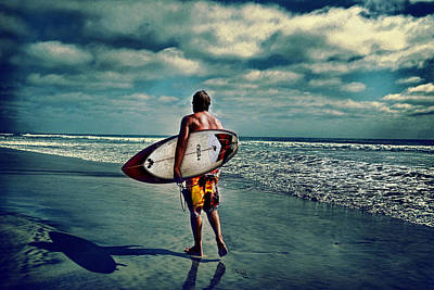 Surfer Walking The Beach Poster