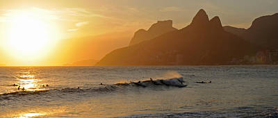 Surfers At Sunset On Ipanema Beach, Rio Poster