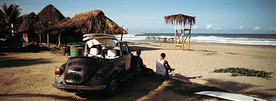 Surfers Watching Waves, Zicatela Beach Poster by Panoramic Images