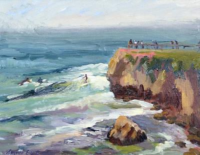 Surfing At Steamers Lane Santa Cruz Poster by Suzanne Elliott