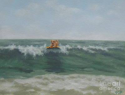 Surfing Golden Poster