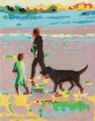 Beach Art Surf's Up - Beach Painting Bertram Poole Poster