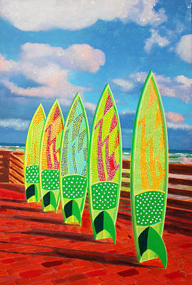 Poster featuring the painting Surfs Up by Deborah Boyd
