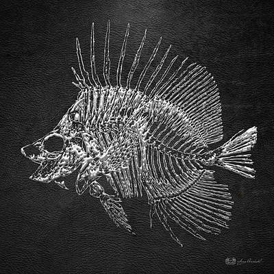 Surgeonfish Skeleton In Silver On Black  Poster