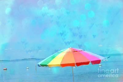 Surreal Blue Summer Beach Ocean Coastal Art - Beach Umbrella  Poster by Kathy Fornal