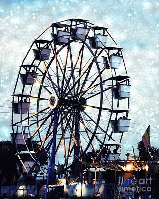 Surreal Carnival Ferris Wheel Baby Boy Blue Carnival Rides - Baby Boy Nursery Blue Ferris Wheel Art Poster