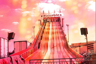 Surreal Carnival Festival Fair Hot Pink And Orange Euroslide Fair Ride Poster by Kathy Fornal