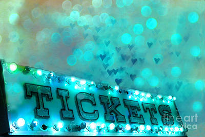 Surreal Dreamy Carnival Festival Fair Aqua Teal Blue Ticket Booth - Whimsical Fantasy Carnival Art  Poster