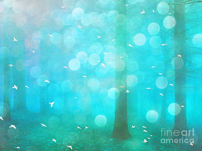 Surreal Dreamy Ethereal Aqua Teal Turquoise Woodlands Trees And Bokeh Circles Poster by Kathy Fornal