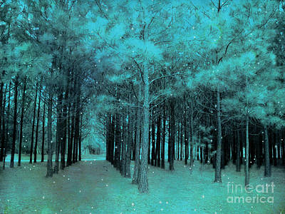 Surreal Dreamy Teal Aqua Woodlands With Stars - Fantasy Nature Trees Woodlands Photography Poster by Kathy Fornal