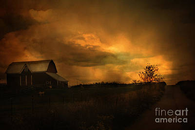 Surreal Fantasy Barn Sunset Nature Farm Landscape Poster