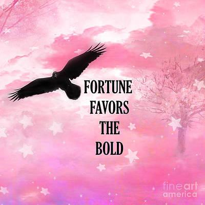 Surreal Fantasy Black Raven Crow Typography  Poster