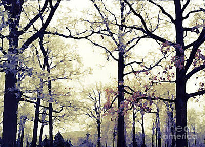 Surreal Fantasy Blue Purple Yellow Nature Woodlands Poster