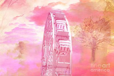 Surreal Fantasy Carnival Festival Fair Pink Yellow Ferris Wheel  Poster